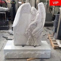 Marble Angel Monument Angel Carved White Marble Headstone
