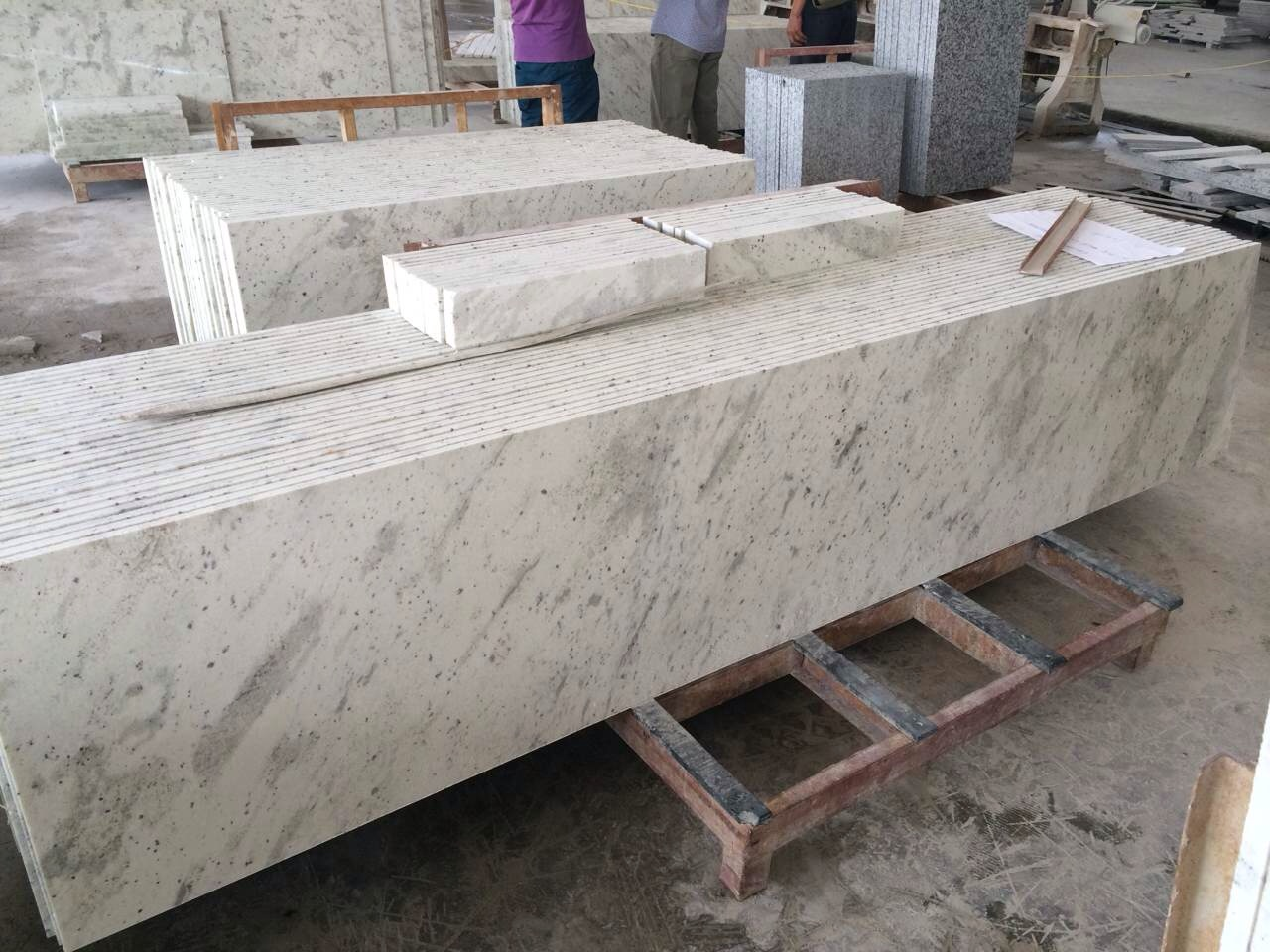 White granite top