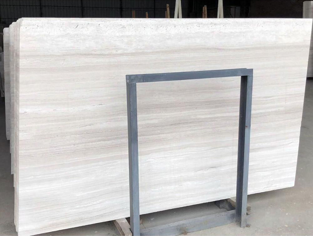 White Wood Grain Marble Slab For Hospitality
