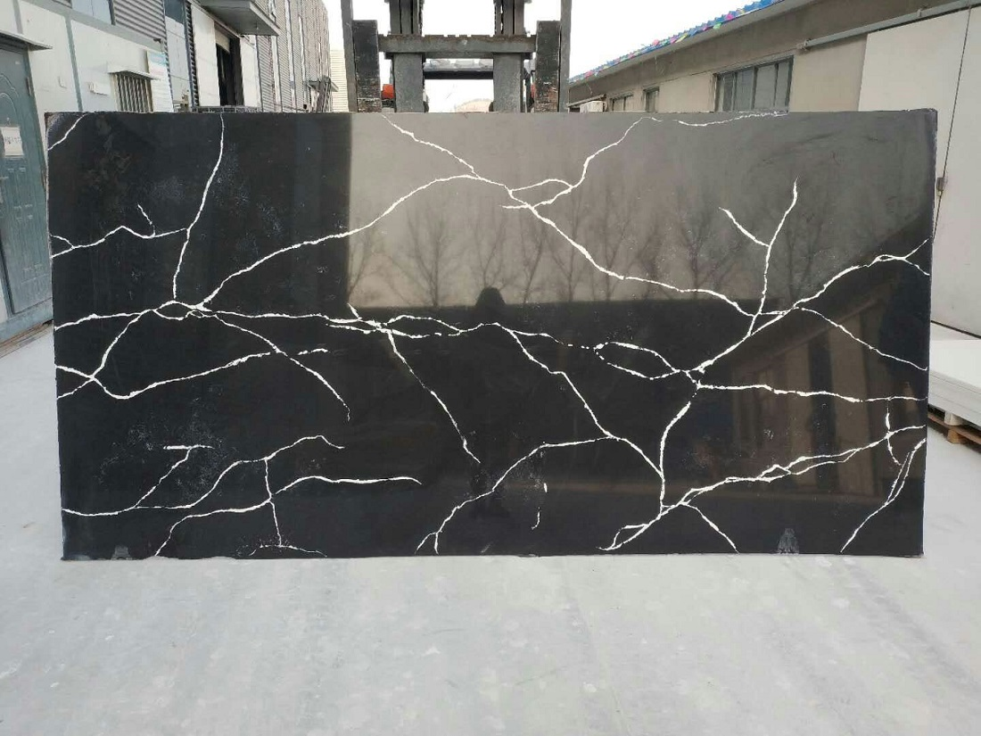 black calacatta quartz stone slab