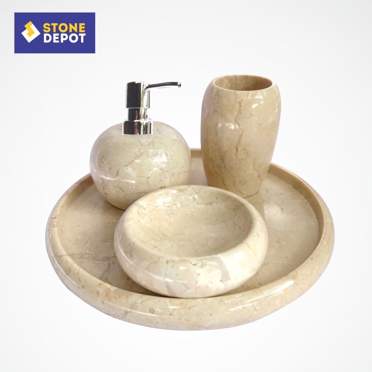 Bali Marble Bathroom Set Stone Soap Dish