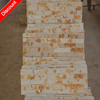 Yellow natural marble stacked wall cladding stone panels